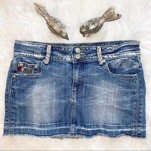 Miss Me Camo Denim Embellished Mini Skirt Size M
